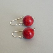 Red Sponge Coral and Sterling Silver Dangle Earrings