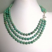 Rejuvenate Blue Green Magnesite and Sterling Silve Triple Strand Necklace