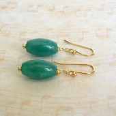 Green Russian Amazonite and 14K Gold Plated Dangle Earrings