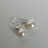 Silvery Sage Fresshwater Pearl and Sterling Silver Dangle Earrings