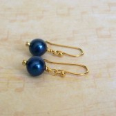 Deep Blue Freshwater Pearl and 14k Gold Plated Dangle Earrings