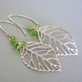 Light Green Swarovski Crystal, White Gold Plated, and Silver Filled Statement Earrings