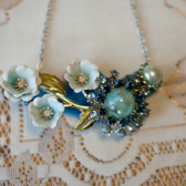 vintage enamel flower brooch necklace