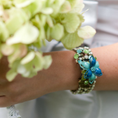 handmade bracelet with vintage brooches