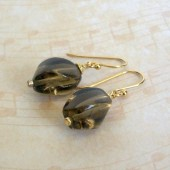Smoky Quartz and 14K Gold Plated Dangle Earrings