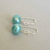Tiffany Blue Freshwater Pearl and Sterling Silver Dangle Earrings