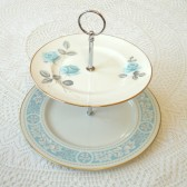 Blue Roses Cake Plate Cupcake Stand