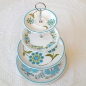 Mod 60s Blue and Green Cupcake Stand
