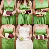 Chocolate, green bridesmaids clutches