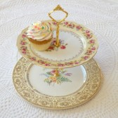 Ivory and Gold Cupcake Stand Cake Plate