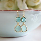 Ocean Blue Glass Earrings