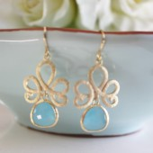 Gold Lotus Blue Earrings