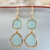 Tiffany Blue Glass Earrings