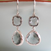 Gray Glass Earrings