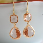 Peach Champagne Glass Earrings