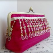 Beaded cranberry clutch
