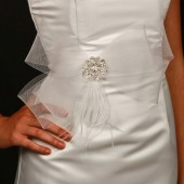 Clara - Horsehair Bridal Sash, Bridal Belt with Rhinestone Brooch, Wedding Sash, Bridal Sash