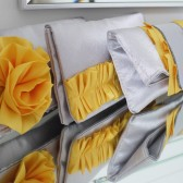 Silver and yellow bridesmaids