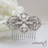 Katherine Swarovski Rhinestones and Pearls Hair Comb by Mauve Binchely / Vintage Flavor / Beautiful Head piece / Weddings