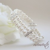 Emma Swarovski Pearls and Rhinestones Bracelet by Mauve Binchely / Two Strand Bridal Cuff / Weddings Jewelry
