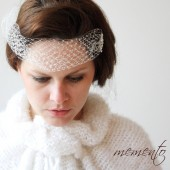 Elsinore Ivory Birdcage / Bandeau Style / Blusher Veil Embellished with Swarovsky Elements by Mauve Binchely / Wedding Accessories