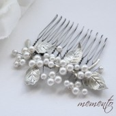 Elsie Swarovski Pearls and Leaf Hair Comb by Mauve Binchely / Side Piece / Fasinator / Bridal Hair Accessories