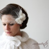 Adele Mini Ivory Birdcage / Bandeau Style / Blusher Veil with Silk Organza Flower and Swarovski Elements by Mauve Binchely / Weddings