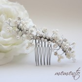 Final SALE Aileen Swarovski Elements and Ivory Roses Bridal Hair Comb by Mauve Binchely / Beautiful Side Piece/ Weddings