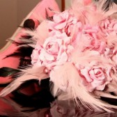 Pink Paper Flower and Feather Bouquet