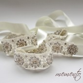 Tiffany Glamorous and Sparkle Bridal Sash / Beaded Belt / Beaded Ribbon Headband with Swarovski Elements by Mauve Binchely