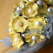 Yellow and Gray Feather and paper Flower Bouquet