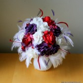 Purple, Red and White Paper Flower and Feather Bouquet
