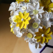 Yellow and White Atlas Paper Flower Bouquet
