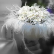 White, Black and Silver Paper Flower and Feather Bouquet