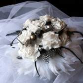 White Paper Flowers and Black Spotted Feather Bouquet