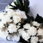 Black and White Paper Flower Bouquet with Spotted Feather Accents