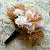 White Paper Flower Bouquet with Natural Feathers