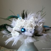 Peacock and White Feather and Paper Flower Bouquet