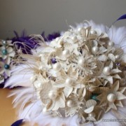 Aqua and Purple Atlas Paper Flower Bouquet with Feather Accents