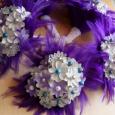 Aqua and Purple Atlas Flower Bouquet with Feather Accents