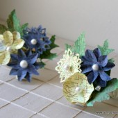 Blue and Yellow Paper Flower Cosage