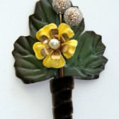 Yellow Vintage Flower Corsage Pin Boutonniere