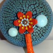 Retro Vintage Style Boutonniere Broach with Orange Metal Flower