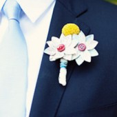 White Map Boutonniere