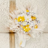 Elegant Yellow, White and Silver Paper Flower Bouquet
