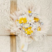 Yellow and White Bouquet with Silver Accents