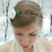 White Rose and Pearl Woodland Headband