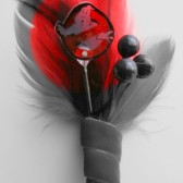 Ghost Busters Red Feather Boutonniere
