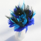 Aqua, Blue and Black Feather Bouquet