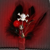 Pirate Wedding Boutonniere - Red and Black with Skull and Sword